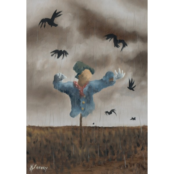 Starving Scarecrow Having The Last Of His Corn Taken By Crows by Mark Sheeky