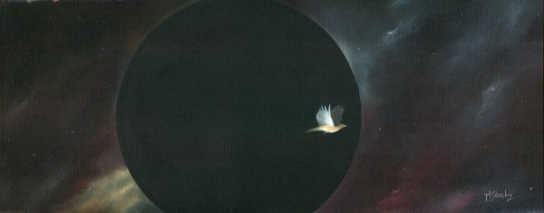 Bird Orbiting A Black Hole by Mark Sheeky